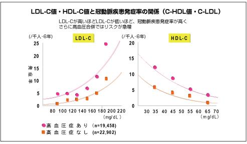 LDL-C値・HDL-C値と冠動脈疾患発症率の関係(C-HDL値・C-LDL)